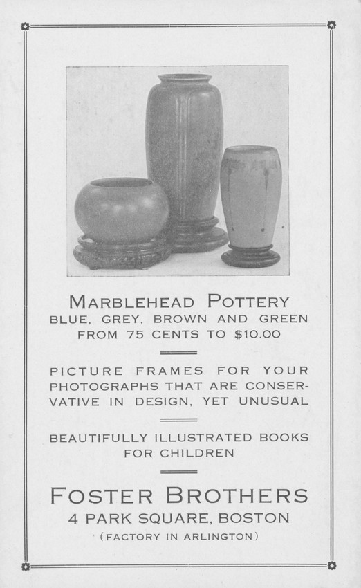 Trade card for Foster Brothers, Marblehead Pottery, frames and ...