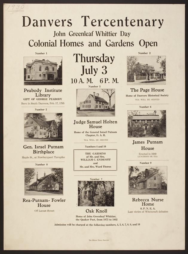 Poster for the Danvers Tercentenary | Historic New England on town of danvers, sign welcome to danvers, map of boston danvers, burlington map of eastern massachusetts danvers, map of reservoir danvers,
