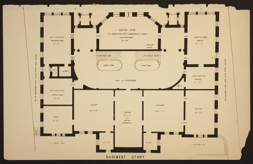 Architectural Plans Boston City Hall Historic New England
